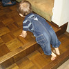 Monday, Chase went to visit Great-Grandma Maria.  Chase's first adventure was climbing the steps.
