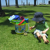 Tuesday, we spent the day at Mission Bay Park.  It was a wonderful, beautiful, sunny day.  Chase got some early birthday presents from Grandma Ginny and Grandpa Wally.  A bucket of beach toys, a blow up float for the pool, and a swim hat.