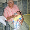 Chase had his first road trip this week to Mt. Pulaski.  Here he's eating with Great Grandma Maxheimer.