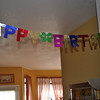Tradition...the hanging of the Happy Birthday banner