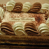 Dessert - Christopher's favorite - Tiramisu from LaMadeline.  Where even the Happy Birthday logo is edible.  Delicious.