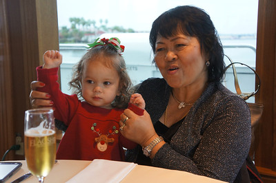 We celebrated Christmas this year in San Diego, and took a Christmas Day harbor cruise.  All of Mommy's San Diego relatives joined us, including Auntie Judy above.