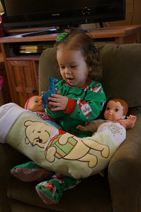 Sophie's stocking was truly stuffed.  Mommy and Daddy may have gone a little overboard this year.  It was so fun to see the eagerness and excitement in her little face as she opened presents.