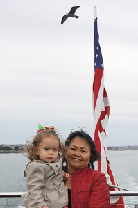 On the top deck of the little cruise ship in the San Diego Harbor - Sophie and Auntie Judy