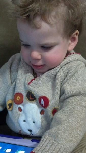 Playing with Nana's iPad.