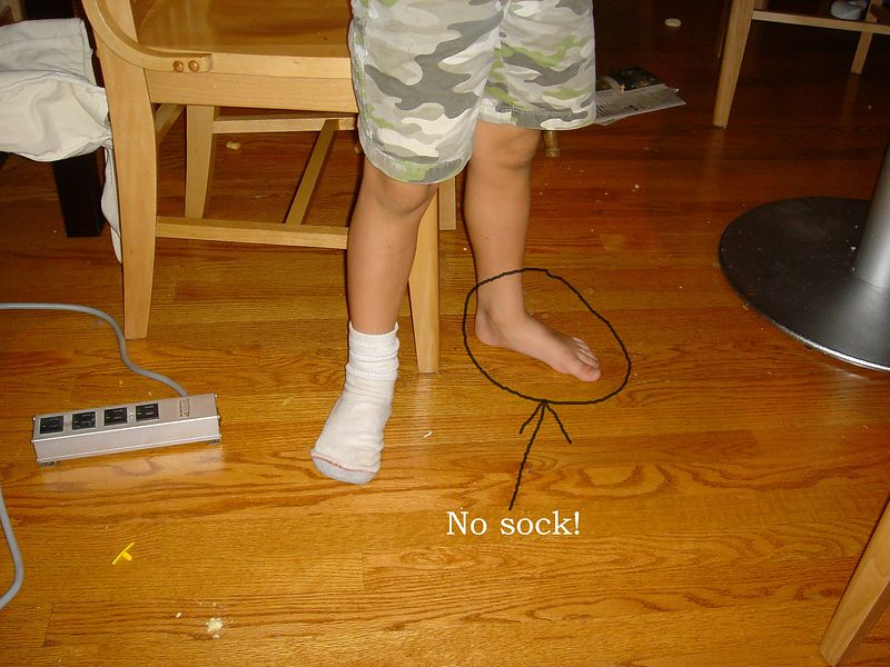 The missing sock switches feet