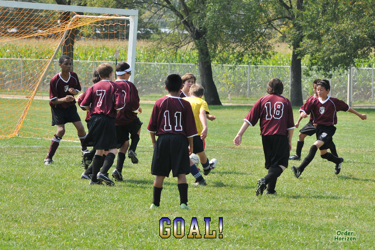 Yes, he scored through all of these defenders.<br /> The goalie is standing next to the other vertical post of the goal, to the left.