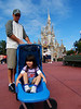 The obligatory photo in front of Cinderella's castle. We rented the stroller for $10--the best $10 we ever spent.