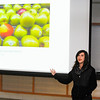 """Suzanne Gaudet, 15, of Fitchburg talks about one of her photos titled """"A pear in an Apple World"""" during LUK's Diversity Through the Lens unveiling as part of the LUK Martin Luther King, Jr. """"Diversity in Art"""" Celebration at the Boys & Girls Club of Fitchburg and Leominster, Saturday morning.<br /> SENTINEL & ENTERPRISE / BRETT CRAWFORD"""