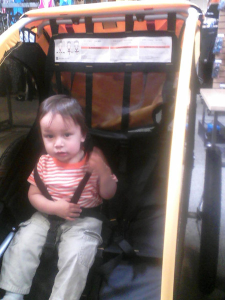 Shopping for bike trailers with Daddy!