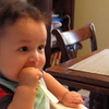 He'd rather gnaw on the spoon than eat the food...