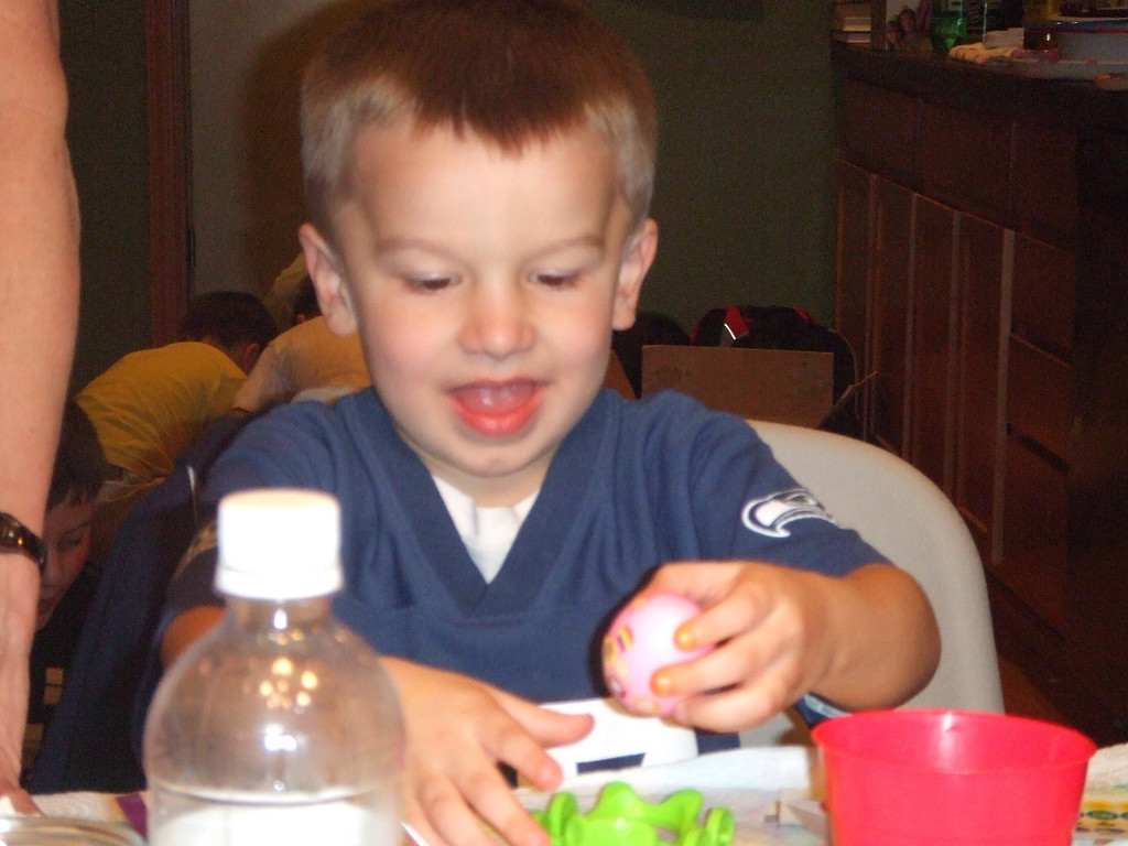 Connor coloring eggs  - Easter, 12Apr09