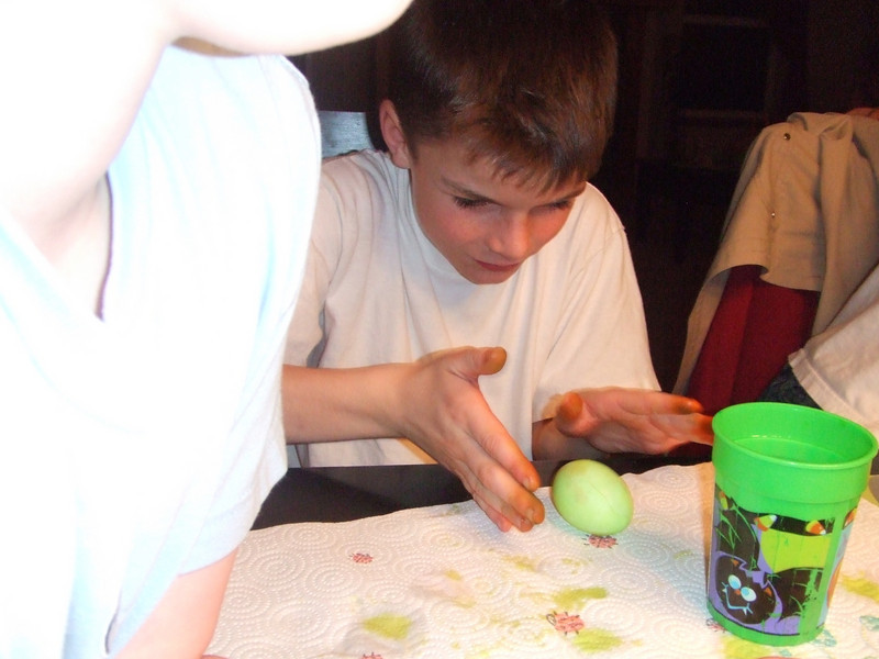 Chase drying egg off  - Easter, 12Apr09