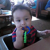 Big boy at the restaurant!  He can sit up in their high chair now!