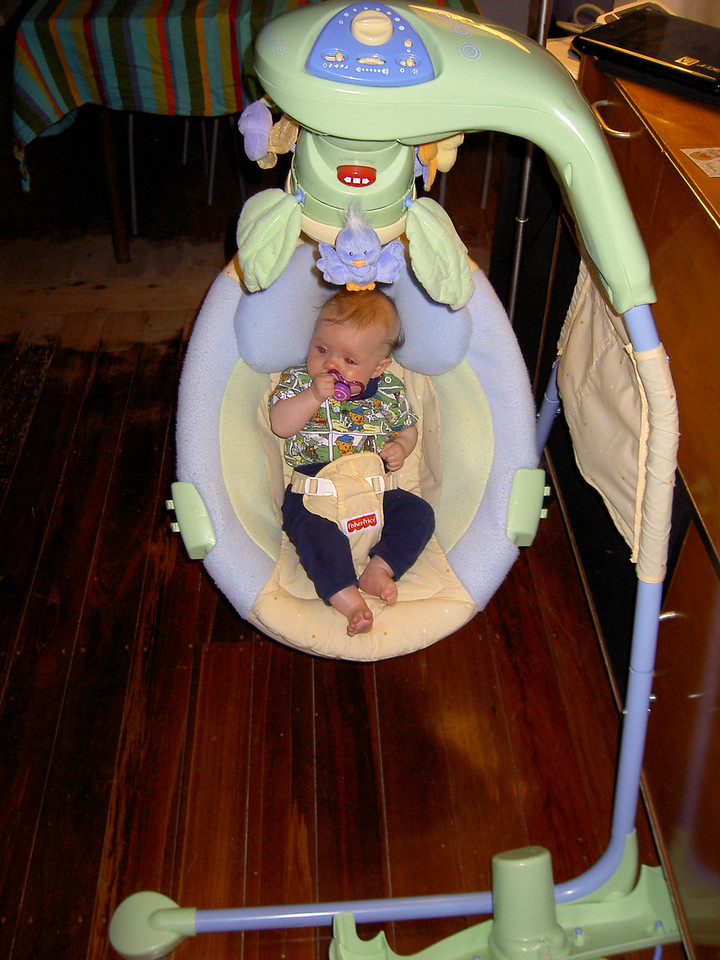 Ellinor tries out the swinging chair