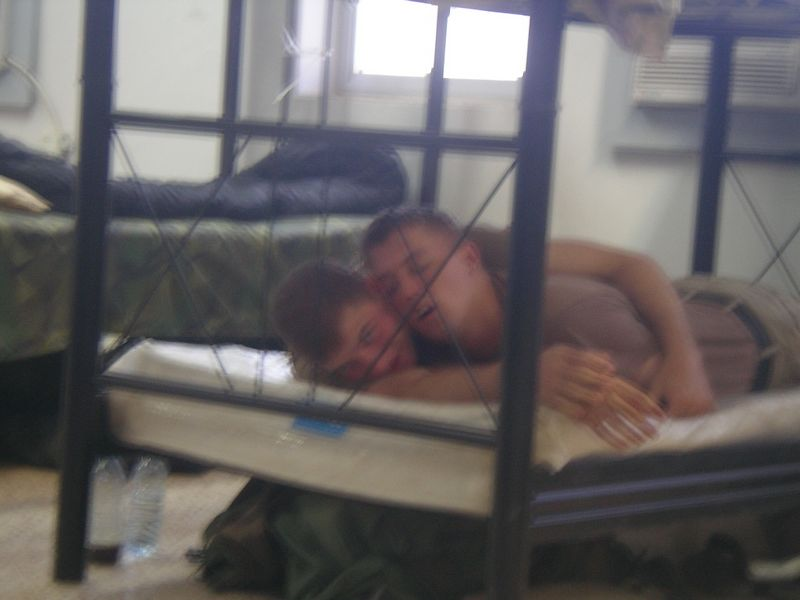 Mills and Wynsma sleeping. (Yes, it was a setup)