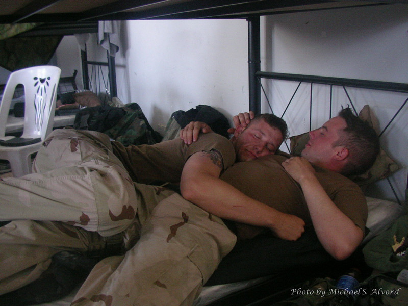 Evan and Sipsy sleeping after a long night.<br /> <br /> (Yes, they are just kidding)