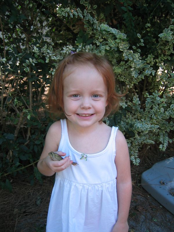 """Elizabeth holding """"Cutie"""" the toad.  We caught it in our backyard.  She loved playing with it!"""