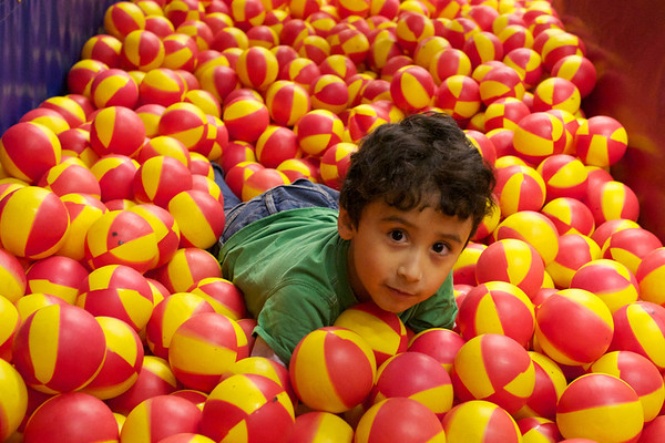 This reminds me of when Jaden was 2.  Man does he love crawling around in these balls.