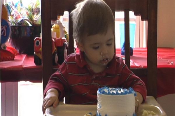 This is the boys eating their first birthday cake.