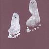 Ghost footprint child foot print white paint halloween spooky craft fun