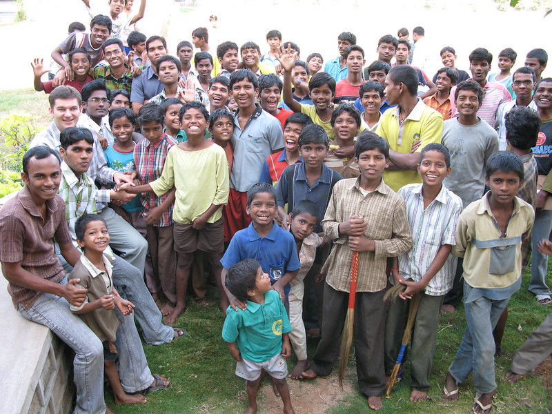 The children at the rehabilitation center in Hyderabad saying good-by.  SCJ philosophy students, with Fr. Szymon, to the left.