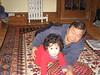 Jaden crawling around with Grandpa Artos.
