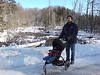 Mikail and Jaden strolling past the beaver swamp by our cottage.