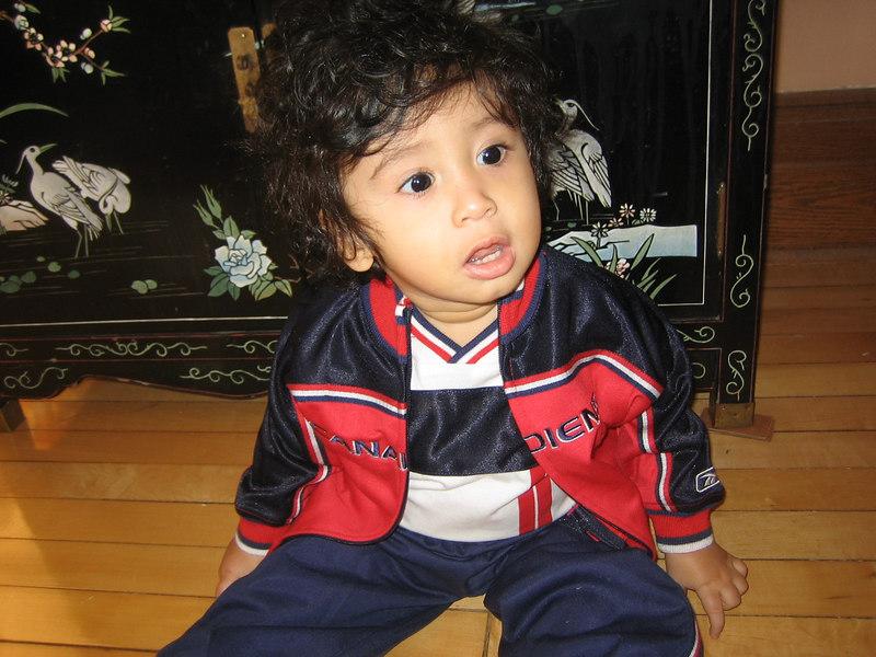 Jaden in his Montreal Canadians track suit.