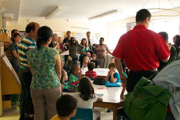 All the parents were invited into the class to get the first day of school low down from the teacher - Natalia