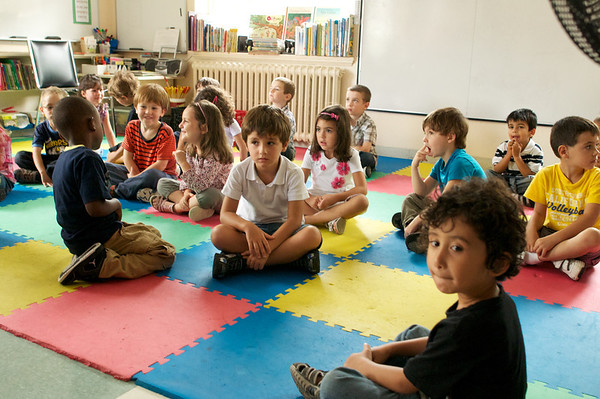 Everyone on the mats for story time