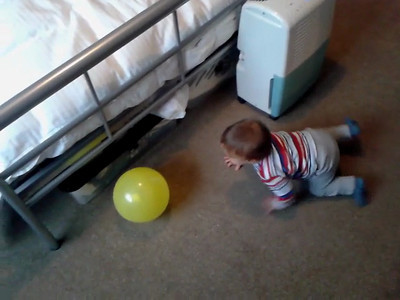 James playing with balloon 7 May 2012
