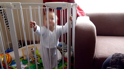 James playing in play pen and saying Mama 24 March 2012