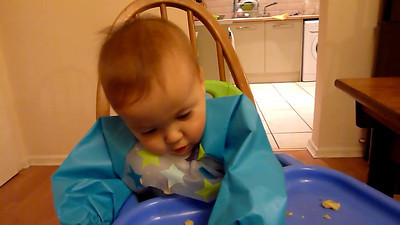 James eating slippery banana 31 Jan 2012