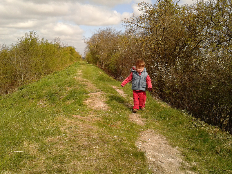 James walking on Fleam Dyke near Fulbourne