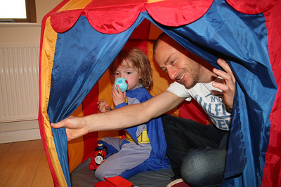 Jack hiding from the balloons in the circus tent with Marc for company