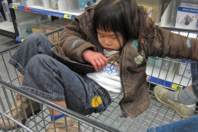 Slapen in het karretje in de Makro.