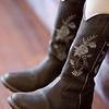 De nieuwe laarzen van Jantine, met echte hakken.
