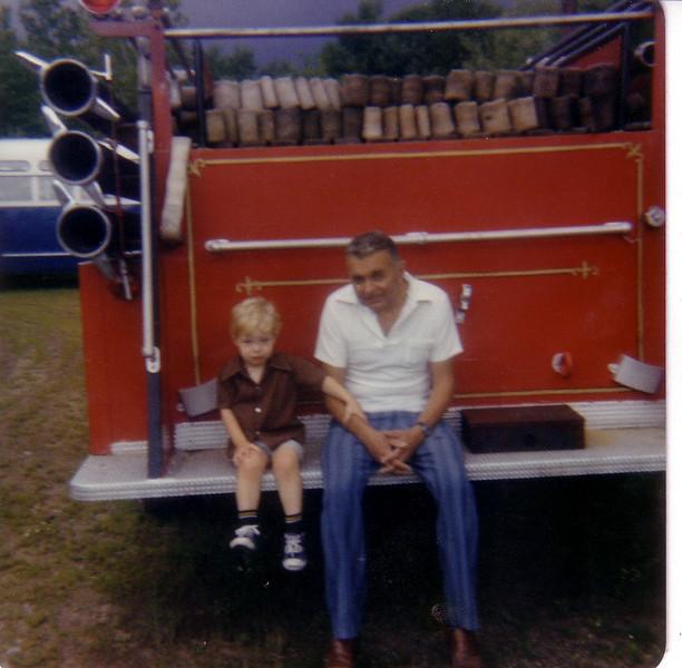 w/Grandpa J. at Firemen's Carnival in Suffield--love the hand on Grandpa's arm