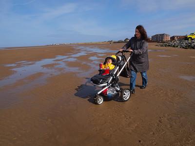 Joni's first trip to the beach