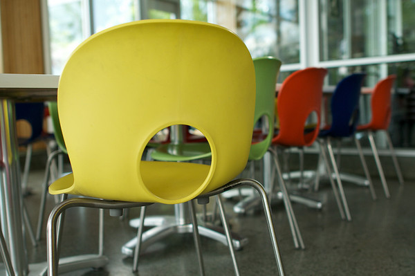 Colourful mid century modern molded plastic chairs