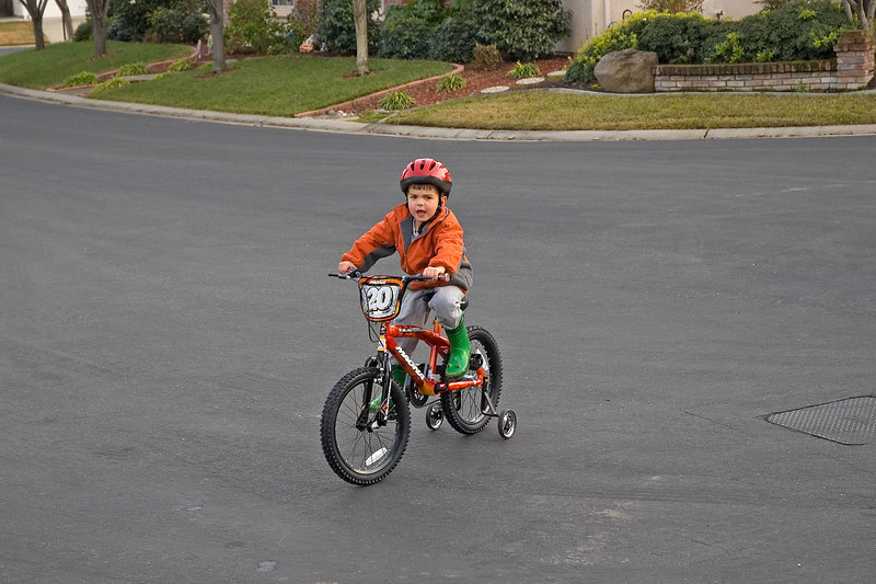 Charlie's first ride on his new bike