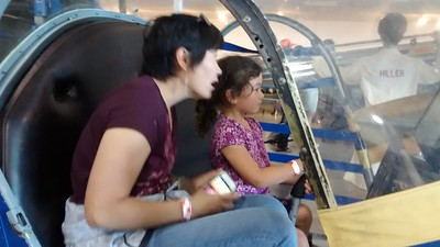 flying the helicopter simulator at Hiller Aviation museum