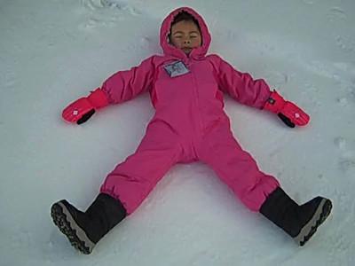 Snow angel time! Sierra at Tahoe 3/2013 Burton star wars snowboard school