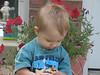 Examining my pear at Da's house.