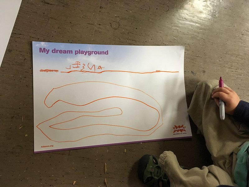 Ansel wrote his own name & designed his dream playground.