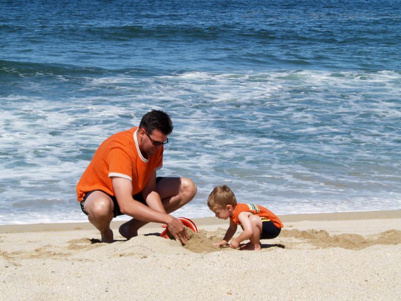 Dad and Mark on the beach, Half Moon Bay, CA