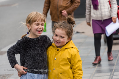 """Two young girls are friends in the """"Silent March"""" against sexual violence, after the murder of 23-year-old Julie Van Espen, on 5/12/19 in Antwerp, Belgium"""