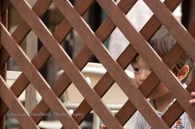 A young boy peers through a lattice wood fence in Kichiogi, Japan.