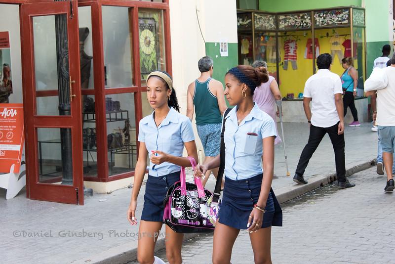 School girls walking.